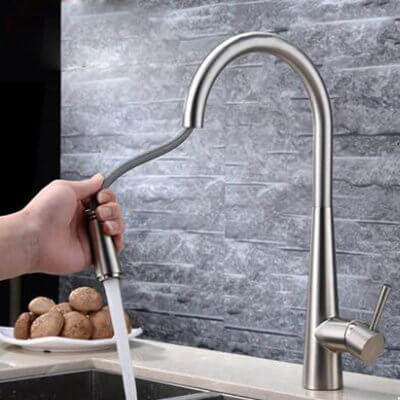 stainless steel kitchen faucet with pull-out spray