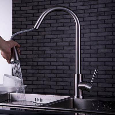 stainless steel kitchen faucet with sprayer