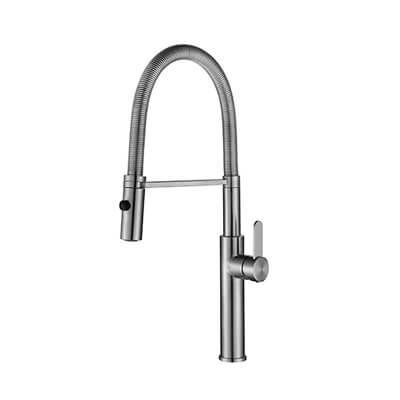 stainless steel kitchen faucet with pull-down spray